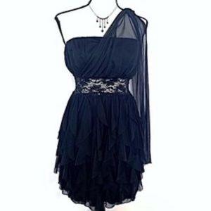 Roberta black Grecian one shoulder mini dress L